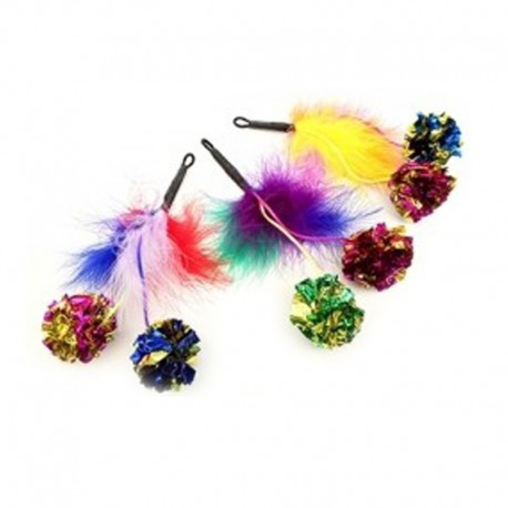Purrs Feather Crinkle Pomz - Federanhänger mit Knisterbällen