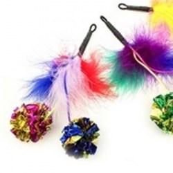 Purrs Feather Crinkle Pomz - Federanhänger mit Knisterbälle für Katzen