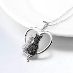Silberkette Herz mit zwei Katzen