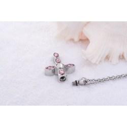 Edelstahl Kreuz mit rosa Kristallen, Andenkenschmuck