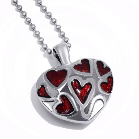 Herzanhänger aus Edelstahl mit roten Herzen, Andenkenschmuck, Ascheanhänger
