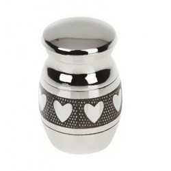 Miniatur Urne mit Herzmuster aus Edelstahl | Mirco Urne für Tiere