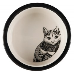Keramiknapf Zentangle für Katzen – Futternapf weiß/schwarz