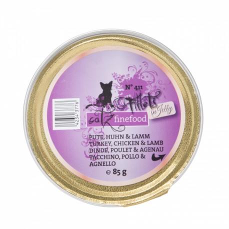 catz finefood Fillets N°411 - Pute, Huhn & Lamm 85g ist ein getreidefreies Katzenfutter