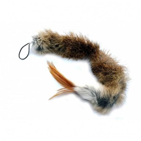 Purrs Squidly Didly Fellanhänger mit Federn - Katzenspielzeug aus echtem Fell