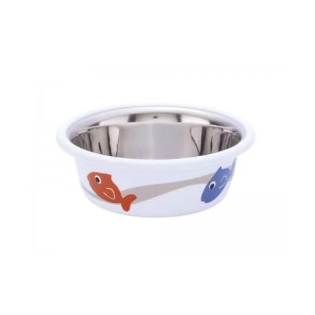 Edelstahlnapf für Katzen - Futternapf aus Edelstahl mit Fischmotiv