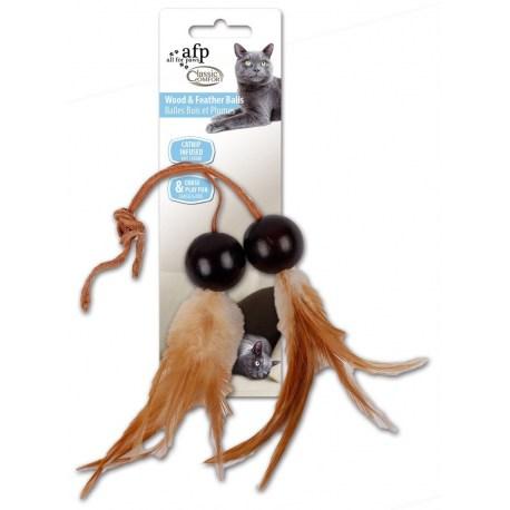 Wood & Feather Balls von afp - einfaches Katzenspielzeug aus Holz, Federn und Leder