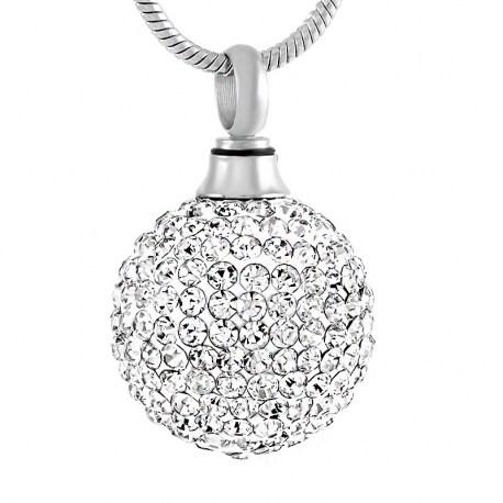 Kristallkugel Anhänger für Asche, Andenkenschmuck, Urnenanhänger