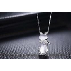 Halskette mit Katze als Anhänger - in der Farbe Silber oder Rosegold