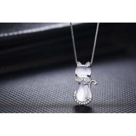 Kette mit Katzenhänger - Halskette für Frau die Katzen mag