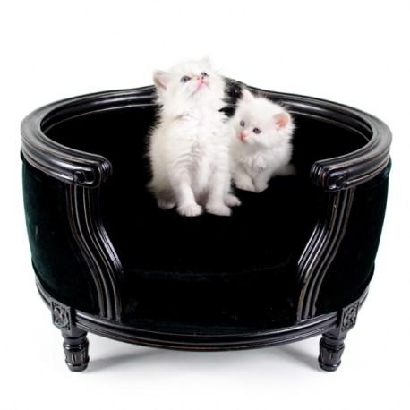 Katzenbett/Hundebett Georg Black Velvet - Luxus Tiermöbel von Lord Lou