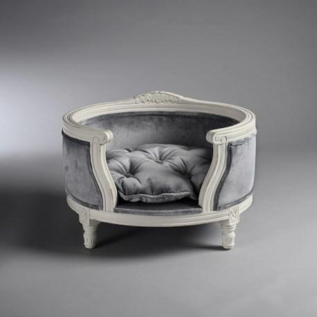 Barockes Katzensofa von Lord Lou in Silber/Grau
