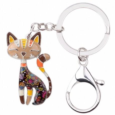Schlüsselanhänger Katze Emaille