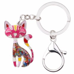 Schlüsselanhänger Katze aus Emaille | Geschenk für Katzenmensch