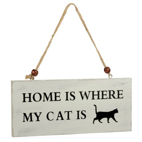 "Holzschild ""Katze"" - HOME IS WHERE MY CAT IS"