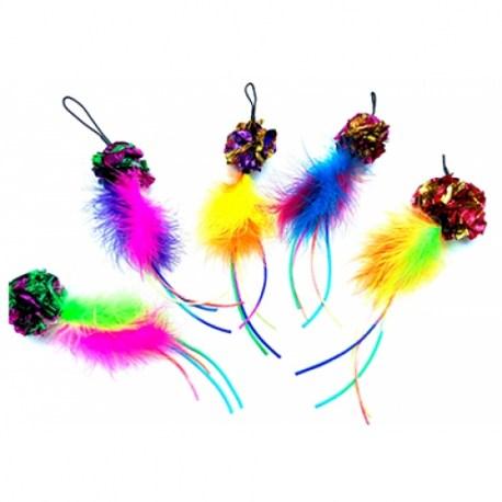 Purrs Crinkle Ball Chaser - Federanhänger mit Bändern