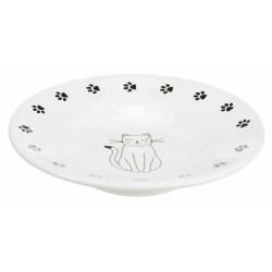 Süßer weißer Futterteller aus Keramik mit Katzenmotiv