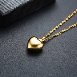 Anhänger Herz in Goldoptik - Andenkenschmuck für Asche mit Kette