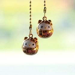 Deko Kette mit Katzenglöckchen - Rückspiegelanhänger Glücksbringer