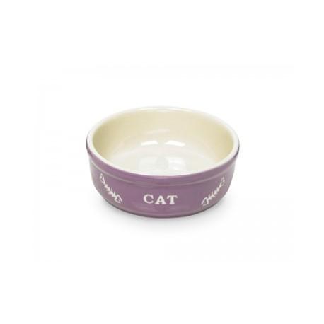 "Keramiknapf ""CAT"" Lila/Beige"