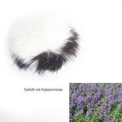 Fellball mit Katzenminze (Kaninchenfell) - Katzenspielzeug aus Fell