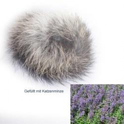 Fellball mit Katzenminze (Catnip) - Spielball aus Echtfell - Kaninchen