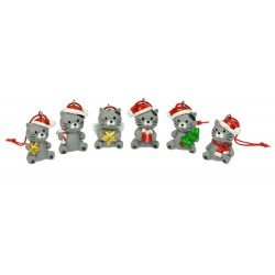 Weihnachtsanhänger Katzen - 6er Set