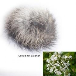 Fellball mit Baldrian (Kaninchenfell) - Katzenspielzeug aus Fell