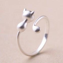 Ring mit Katze - Katzenring silber