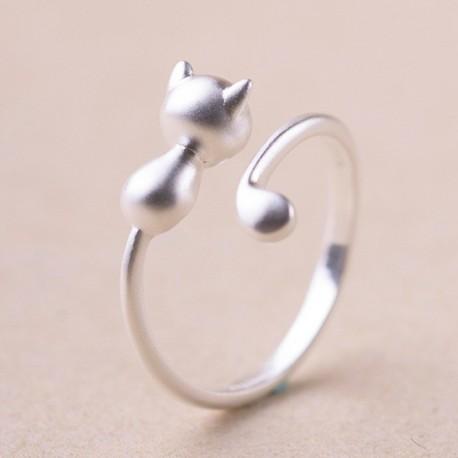 Katzenring - Silberring, filigran, verstellbar mit Katze