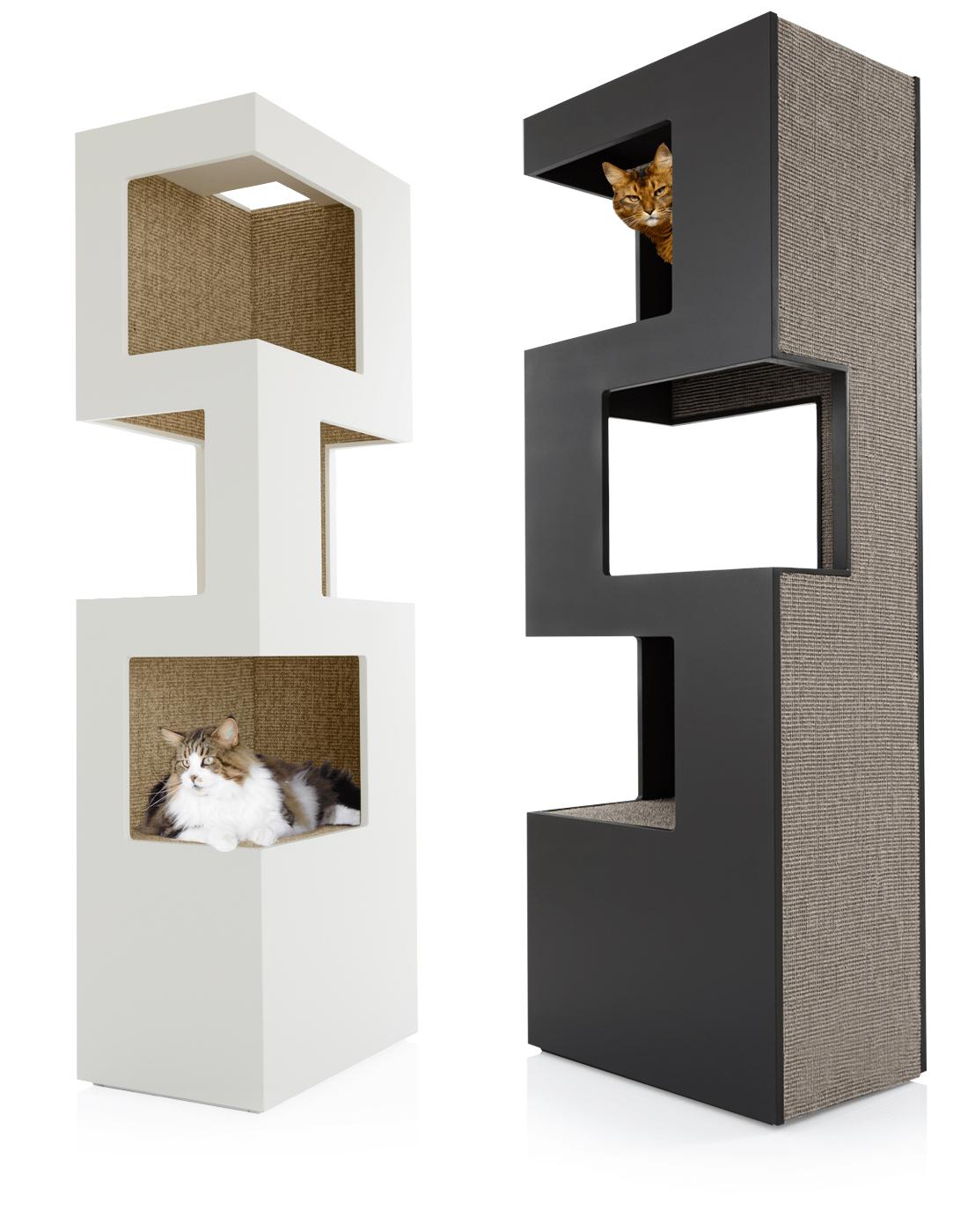 design kratzbaum holz - edler kratzturm für katzen in modernem design